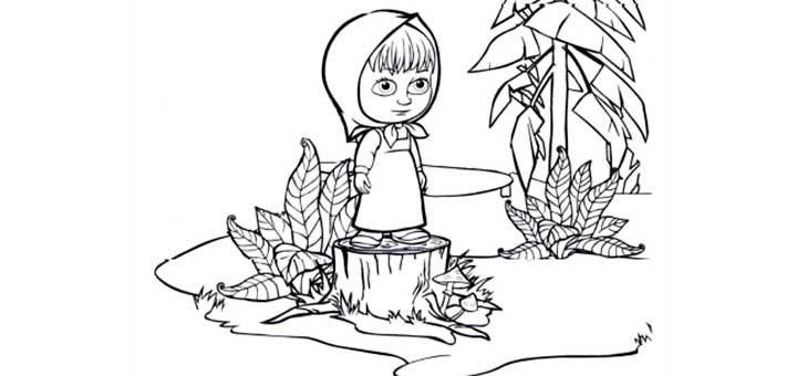 Раскраски для детей - Маша и медведь с наклейками